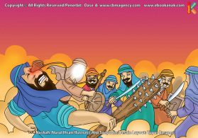 ilustrasi cinta nabi pahlawanku, Lemparan Batu Nabi Daud Berhasil Merobohkan Jalut