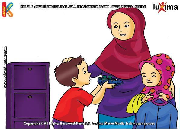 ilustrasi seri belajar islam sejak usia dini aku senang bersedekah, Alif Akhirnya Menyumbangkan Sepatu Bola Kesayangannya
