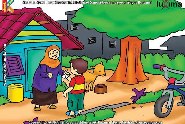 ilustrasi seri belajar islam sejak usia dini aku senang bersedekah, Alif Bersedekah Uang kepada Nenek Inah, Tetangganya
