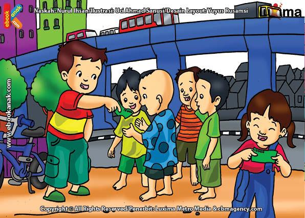 ilustrasi seri belajar islam sejak usia dini aku senang bersedekah, Alif Bersedekah dengan Uang kepada Anak Jalanan