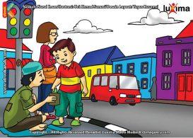 ilustrasi seri belajar islam sejak usia dini aku senang bersedekah, Alif Bersedekah kepada Seorang Pengemis Buta di Jalan