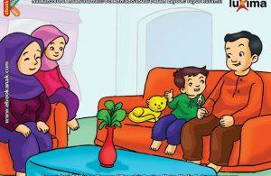 ilustrasi seri belajar islam sejak usia dini aku senang bersedekah, Alif Menceritakan Tentang Sedekahnya Kepada Keluarga di Rumah
