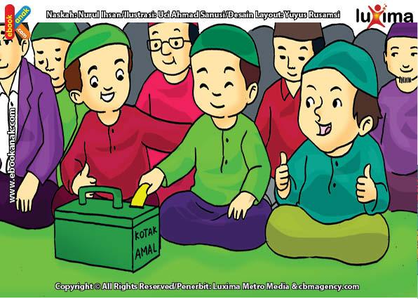 ilustrasi seri belajar islam sejak usia dini aku senang bersedekah, Dengan Penuh Keyakinan Alif Berinfak, Meski Hanya Dua Ribu Rupiah