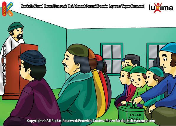 ilustrasi seri belajar islam sejak usia dini aku senang bersedekah, Para Jamaah Berinfak ketika Shalat Jumat di Hari Jumat