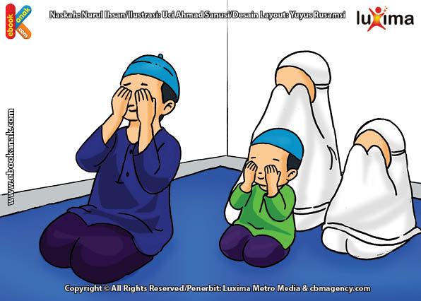 ilustrasi seri belajar islam sejak usia dini aku suka berdoa, Alif Mengusap Muka Selesai Berdoa