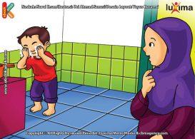 ilustrasi seri belajar islam sejak usia dini aku suka berdoa, Alif Suka Berwudhu Sebelum Berdoa Agar Mudah Dikabulkan Allah