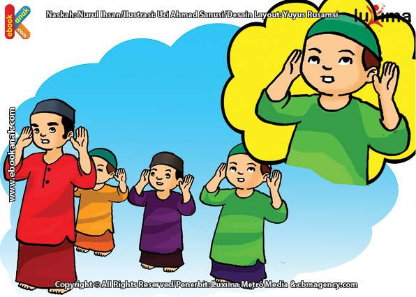 ilustrasi seri belajar islam sejak usia dini ayo kita shalat, Alif Membaca Takbir Sambil Mengangkat Kedua Tangan Ketika Shalat