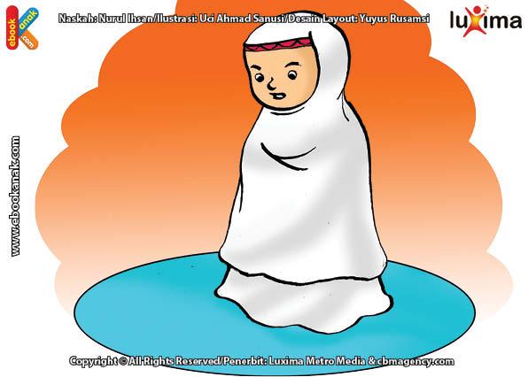 ilustrasi seri belajar islam sejak usia dini ayo kita shalat, Alifa Membaca Doa Iftitah Setelah Membaca Takbirotul Ihram
