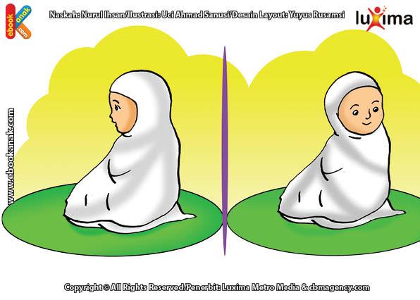 ilustrasi seri belajar islam sejak usia dini ayo kita shalat, Bacaan Salam Diucapkan dengan Memalingkan Wajah ke Kanan dan Kiri