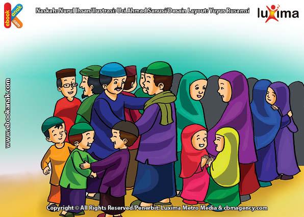 ilustrasi-seri-belajar-islam-sejak-usia-dini-ayo-kita-shalat-Shalat-Idul-Fitri-Dua-Rokaat-di-Lapangan
