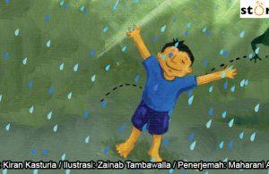 08 Illustrasi buku cerita Jas Hujan, Manu Gembira Karena Hujan Turun COVER