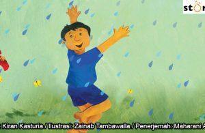 09 Illustrasi buku cerita Jas Hujan, Manu Lupa Memakai Jas Hujan COVER