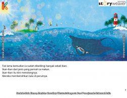 buku cerita petualangan pishi si pari manta, Pishi Dikelilingi Banyak Ikan yang Menolong Membersihkan Lukanya