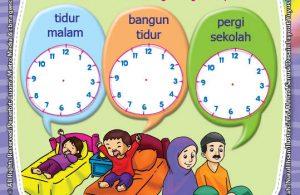ebook seri belajar islam sejak usia dini Ayo Belajar Hadits, Lembar Aktivitas PAUD TK Melengkapi Jarum Jam Sesuai Kegiatan