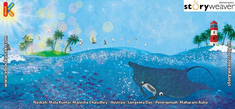 ilustrasi buku cerita petualangan pishi si pari manta, Ikan Pembersih Memakan Serabut Luka di Perut Pishi