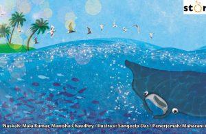 ilustrasi buku cerita petualangan pishi si pari manta, Pishi Dikelilingi Banyak Ikan yang Menolong Membersihkan Lukanya