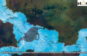 ilustrasi buku cerita petualangan pishi si pari manta, Pishi Pari Manta Berenang Mencari Teman-temannya