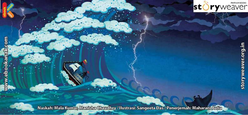 ilustrasi buku cerita petualangan pishi si pari manta, Pishi Si Pari Manta Terluka Perutnya Karena Diterjang Ombak