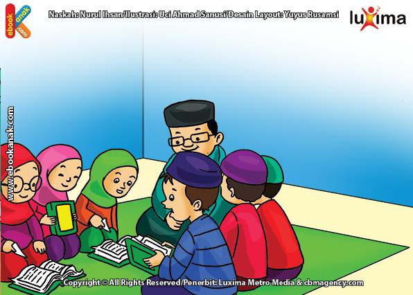 ilustrasi seri belajar islam sejak usia dini ayo belajar hadits, Bacaan Apa yang Menjadi Cahaya di Bumi dan Simpanan di Langit