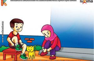 ilustrasi seri belajar islam sejak usia dini ayo belajar hadits, Kata Nabi, Biasakanlah Memakai Sepatu
