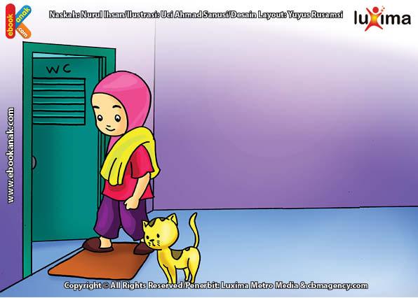 ilustrasi seri belajar islam sejak usia dini ayo belajar hadits, Kata Nabi, Dahulukan Kaki Kiri dan Baca Doa Saat Masuk ke Toilet