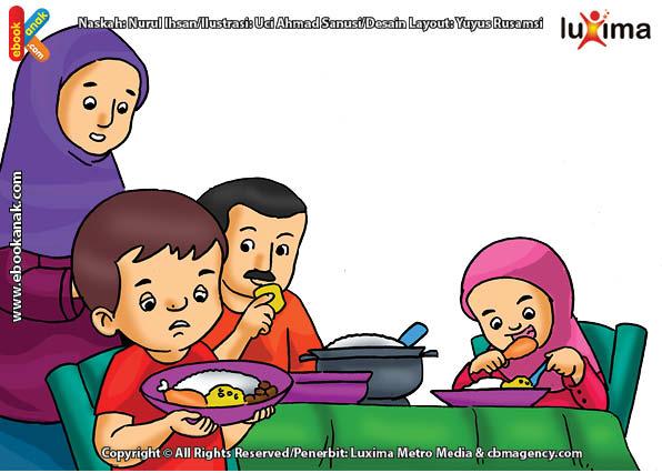 ilustrasi seri belajar islam sejak usia dini ayo belajar hadits, Kata Nabi, Jangan Pernah Mencela Makanan
