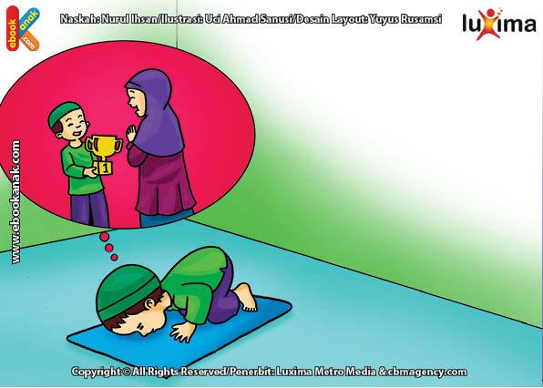 ilustrasi seri belajar islam sejak usia dini ayo belajar hadits, Kata Nabi, Lakukan Sujud Syukur Ketika Mendapat Kabar Gembira