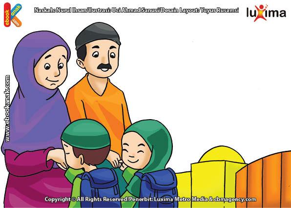 ilustrasi seri belajar islam sejak usia dini ayo belajar hadits, Kata Nabi, Rido dan Murka Allah ada pada Orangtua Kita