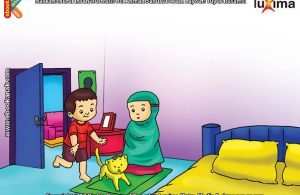ilustrasi seri belajar islam sejak usia dini ayo belajar hadits, Lebih Baik Berdiri Menunggu Seratus Tahun, daripada Berjalan di depan Orang Shalat