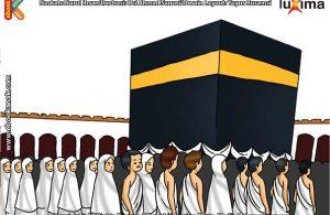 ilustrasi seri belajar islam sejak usia dini ayo belajar manasik haji, Dari Arah Sebelah Mana Ibadah Thawaf Dimulai