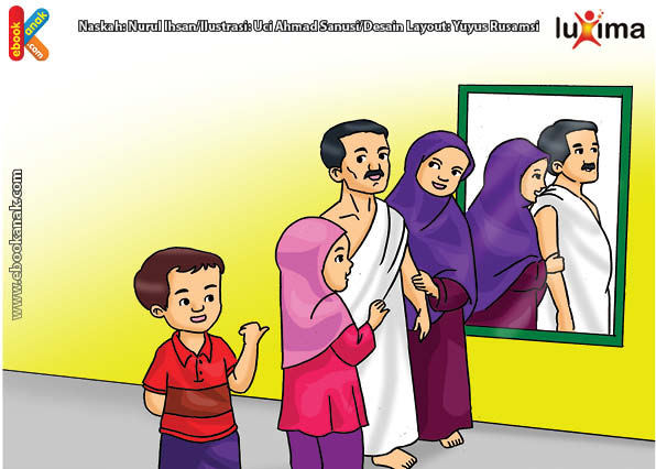 ilustrasi seri belajar islam sejak usia dini ayo belajar manasik haji, Laki-Laki yang Berhaji Dilarang Mengenakan Pakaian Ihram Berjahit