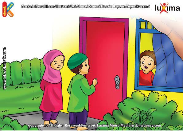 ilustrasi seri belajar islam sejak usia dini ayo belajar mengaji, Alif Alifa Mengajak Ali Alisa Mengaji
