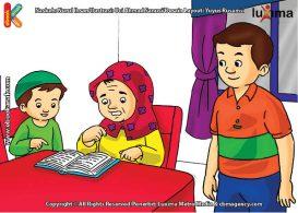 ilustrasi seri belajar islam sejak usia dini ayo belajar mengaji, Alif Mengajari Bi Ijah Membaca Al Quran