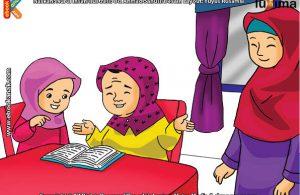 ilustrasi seri belajar islam sejak usia dini ayo belajar mengaji, Alifa Juga Mengajari Bi Ijah Mengaji Al Quran