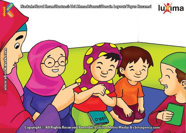 ilustrasi seri belajar islam sejak usia dini ayo belajar mengaji, Berpakaian Menutup Aurat Ketika Mengaji