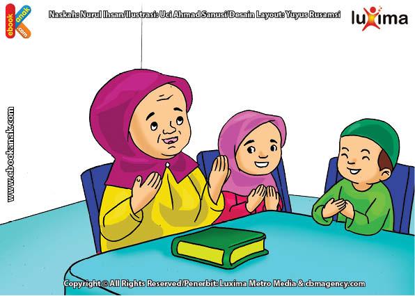 ilustrasi seri belajar islam sejak usia dini ayo belajar mengaji, Bi Ijah Akhirnya Pandai Membaca Al Quran