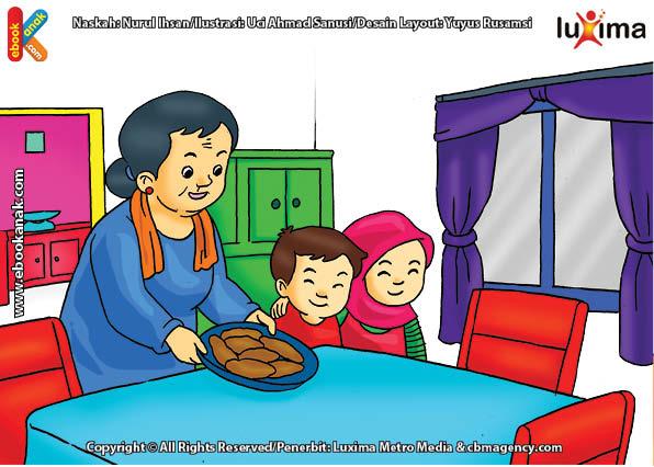 ilustrasi seri belajar islam sejak usia dini ayo belajar mengaji, Bi Ijah Masih Belum Lancar Mengaji Al Quran