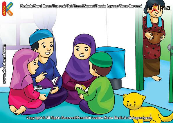 ilustrasi seri belajar islam sejak usia dini ayo belajar mengaji, Mengaji Al Quran Bisa di Mana Saja