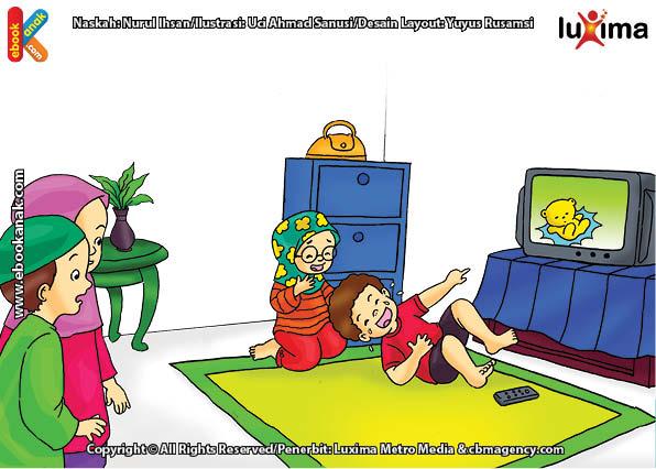 ilustrasi seri belajar islam sejak usia dini ayo belajar mengaji, Menonton TV Tidak Boleh Melupakan Waktu Mengaji