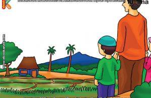 ilustrasi seri mengenal islam sejak usia dini mengenal hukum allah, Ayah Mengajak Alif dan Alifa ke Sawah