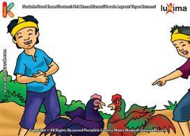 ilustrasi seri mengenal islam sejak usia dini mengenal hukum allah, Kasihan Tubuh Ayam yang Diadu Terluka Kesakitan