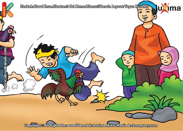 ilustrasi seri mengenal islam sejak usia dini mengenal hukum allah, Menyabung Ayam Hukumnya Haram