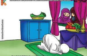 ilustrasi seri mengenal islam sejak usia dini mengenal nabi dan rasul, Malaikat Mengirimi Maryam Buah-buahan dari Surga