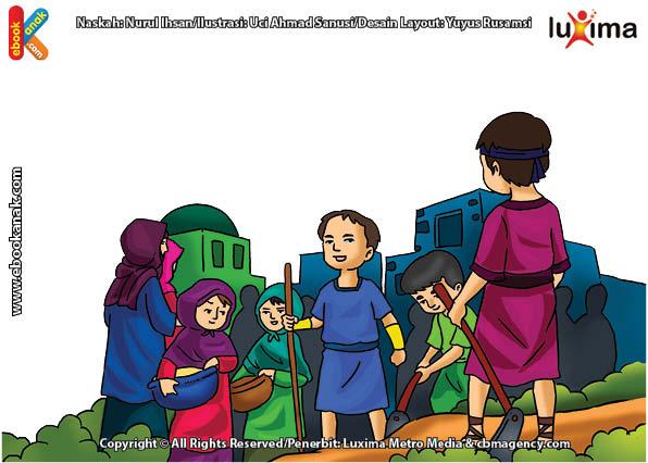ilustrasi seri mengenal islam sejak usia dini mengenal nabi dan rasul, Nabi Adam dan Bunda Hawa Melahirkan Keturunan yang Banyak