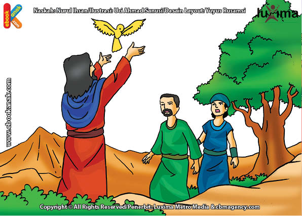 ilustrasi seri mengenal islam sejak usia dini mengenal nabi dan rasul, Nabi Isa Pandai Menghidupkan Burung dari Tanah Liat