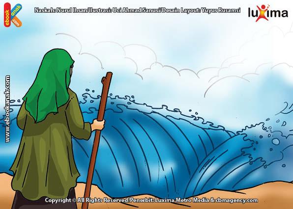 ilustrasi seri mengenal islam sejak usia dini mengenal nabi dan rasul, Nabi Musa dan Umatnya Menyeberangi Laut Merah Saat Dikejar Firaun