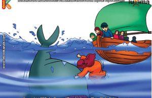 ilustrasi seri mengenal islam sejak usia dini mengenal nabi dan rasul, Nabi Yunus Ditelan Ikan Nun Selama 40 Hari