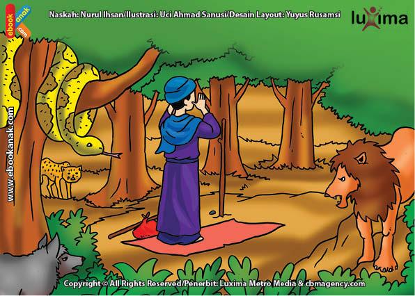 ilustrasi seri mengenal islam sejak usia dini mengenal nabi dan rasul, Ternyata Hewan Buas Segan pada Nabi Yahya