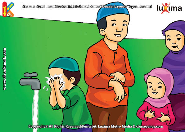 ilustrasi seri mengenal islan sejak usia dini mengenal hukum allah, Alif Ikut Shalat Zuhur agar Disayang Allah