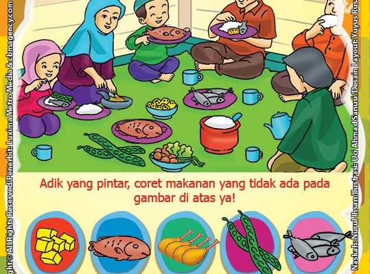 seri belajar islam sejak usia dini Mengenal Hukum Allah, Lembar Aktivitas PAUD TK Mengenal Makanan